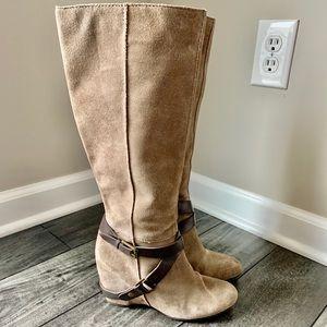 Franco Sarto Suede Boots w/ Hidden Wedge